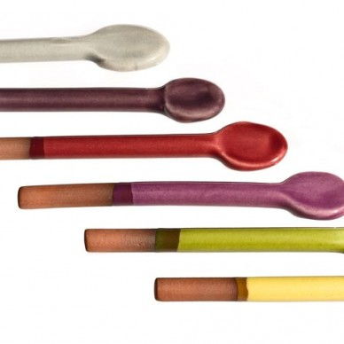 Set of six ceramic spoons